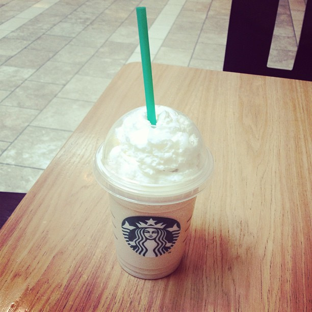 Enjoying a white chocolate mocha Frappuccino in Starbucks' home city of Seattle.