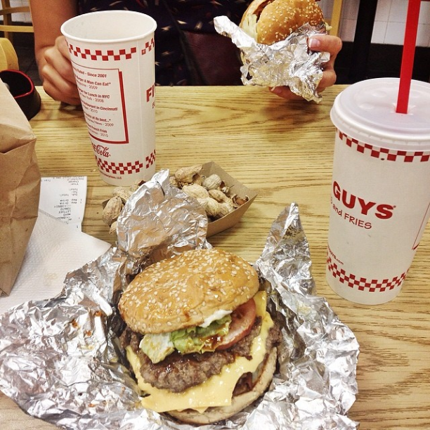 A Five Guys custom burger and peanuts in West Hollywood. They also have the coolest soda machine there.
